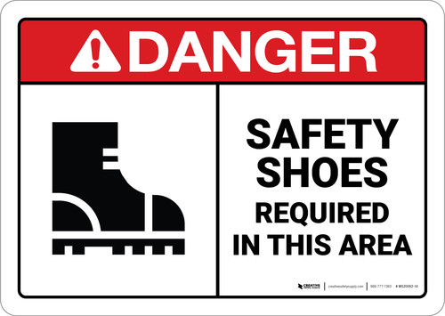 Danger: Ppe Safety Shoes Required ANSI - Wall Sign