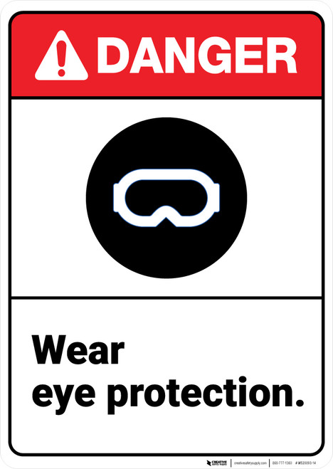 Danger: Ppe Wear Eye Protection ANSI - Wall Sign