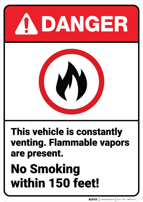 Danger: Vehicle Is Venting No Smoking Within Feet ANSI - Wall Sign