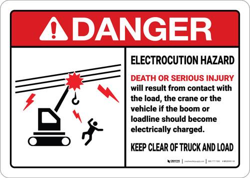 Danger: Warning Electrocution Crane ANSI - Wall Sign