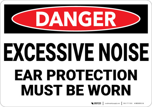 Danger: PPE Excessive Noise Ear Protection - Wall Sign