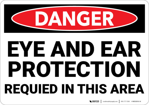 Danger: PPE Eye and Ear Protection Required Area - Wall Sign