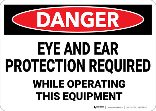 Danger: PPE Eye and Ear Protection Required - Wall Sign