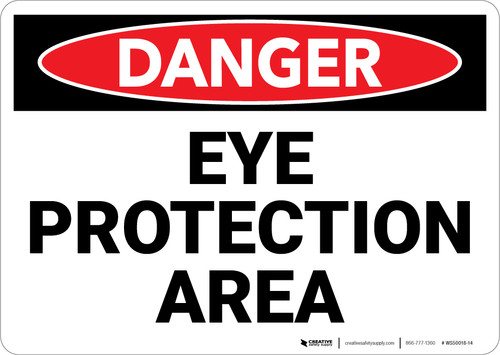 Danger: PPE Eye Protection Area - Wall Sign