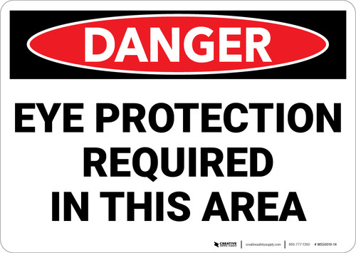 Danger: PPE Eye Protection Required In This Area - Wall Sign