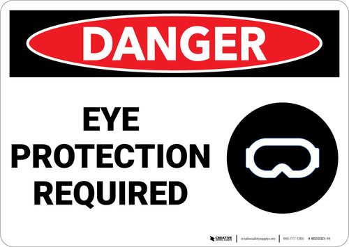 Danger: PPE Eye Protection Required With Graphic - Wall Sign