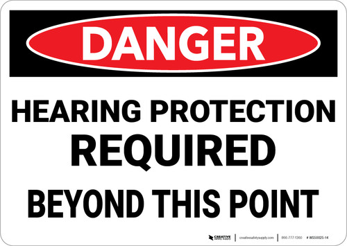 Danger: PPE Hearing Protection Required Beyond This Point - Wall Sign
