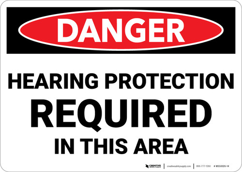 Danger: PPE Hearing Protection Required in This Area - Wall Sign