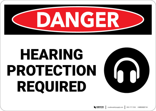 Danger: PPE Hearing Protection Required - Wall Sign
