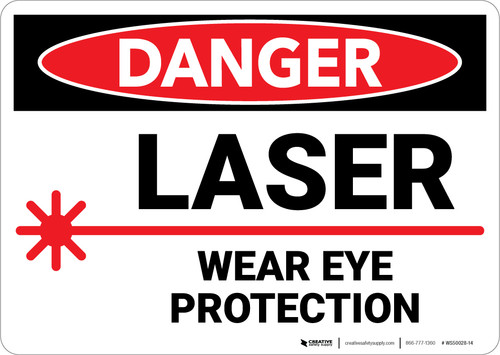 Danger: PPE Laser Wear Eye Protection - Wall Sign