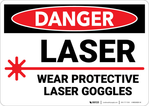 Danger: PPE Laser Wear Protective Goggles - Wall Sign