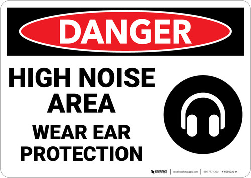 Danger: PPE Noise Area Ear Protection - Wall Sign