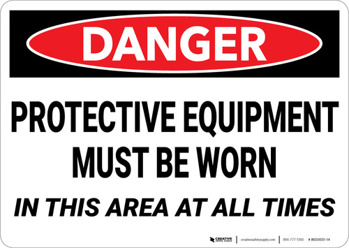Danger: PPE Personal Protection Must Be Worn - Wall Sign