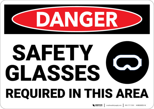 Danger: PPE Safety Glasses Required in Area with Graphic - Wall Sign