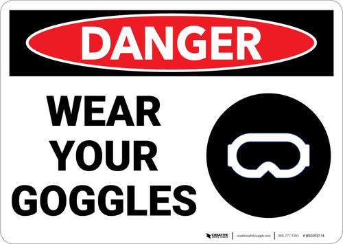 Danger: PPE Wear Your Goggles - Wall Sign