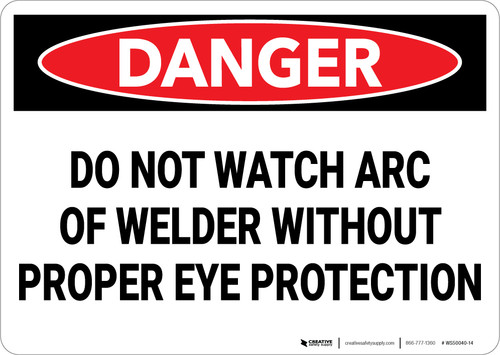 Danger: PPE Do Not Watch Arc Wear Proper Eye Protection - Wall Sign