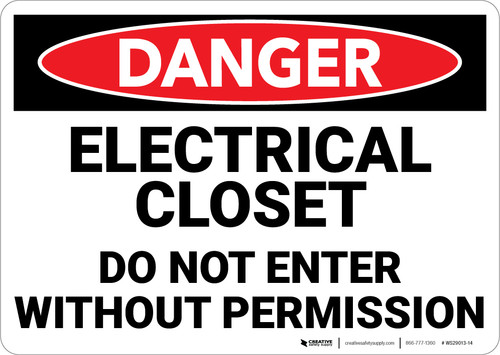 Danger: Electrical Closet Do Not Enter Without Permission - Wall Sign