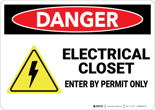Danger: Electrical Closet Enter By Permit Only With Graphic - Wall Sign
