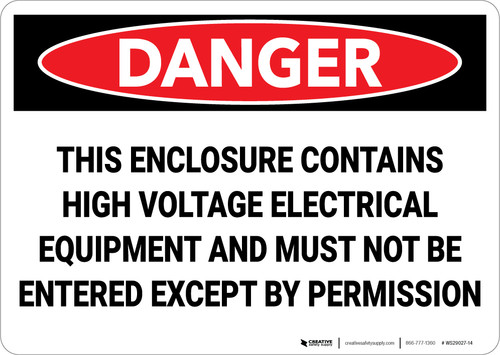 Danger: Electrical High Voltage Permission - Wall Sign