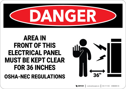 Danger: Electrical Panel Keep Clear for 36 Inches - Wall Sign