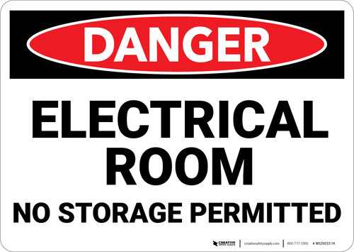 Danger: Electrical Room No Storage - Wall Sign