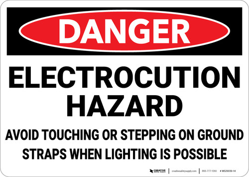 Danger: Electrocution Hazard Avoid Touching - Wall Sign