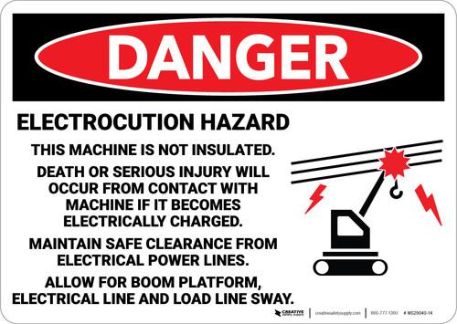Danger: Electrocution Hazard Machine Not Insulated - Wall Sign