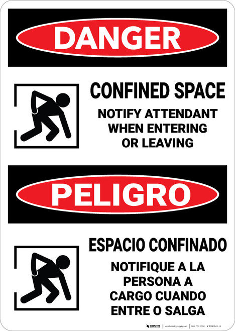 Danger: Confined Space Notify Attendant Entering Bilingual - Wall Sign