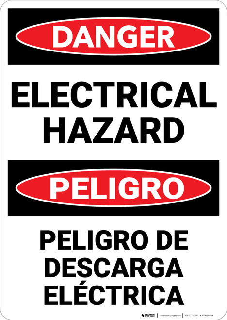 Danger: Danger Electrical Hazard Bilingual - Wall Sign