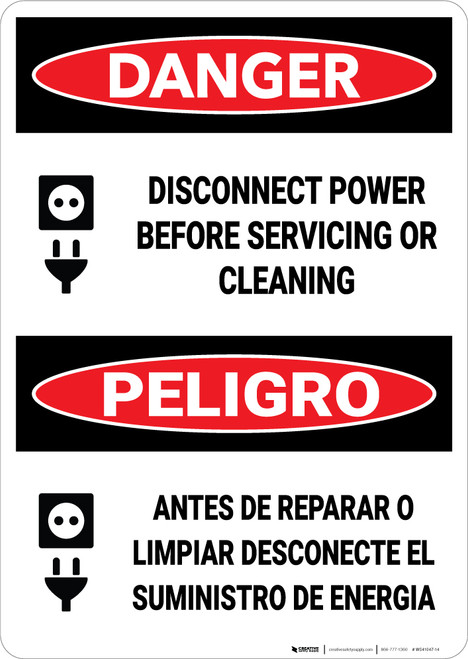 Danger: Disconnect Power Before Servicing Bilingual - Wall Sign