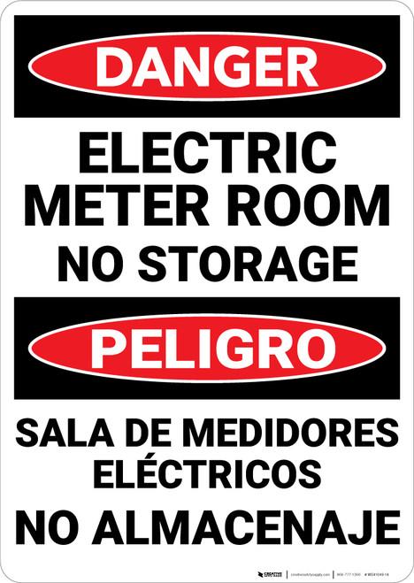 Danger: Electric Meter Room No Storage Bilingual - Wall Sign
