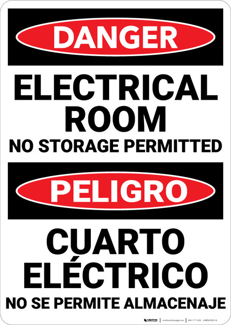 Danger: Electrical Room No Storage Permitted Bilingual - Wall Sign