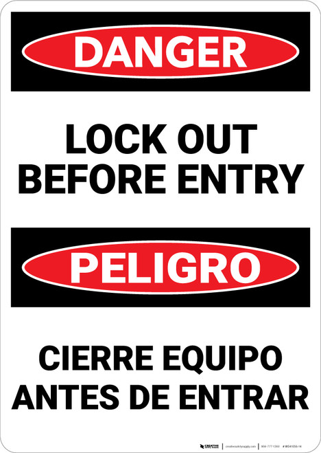 Danger: Lockout Before Entry Bilingual - Wall Sign