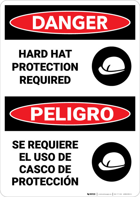 Danger: Hard Hat Protection Required Bilingual - Wall Sign