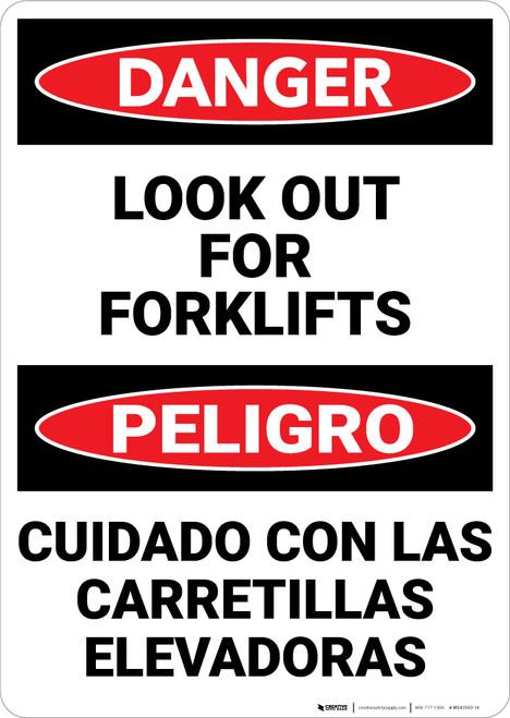 Danger: Lift Truck Forklifts Bilingual - Wall Sign