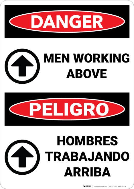 Danger: Men Working Above Bilingual - Wall Sign