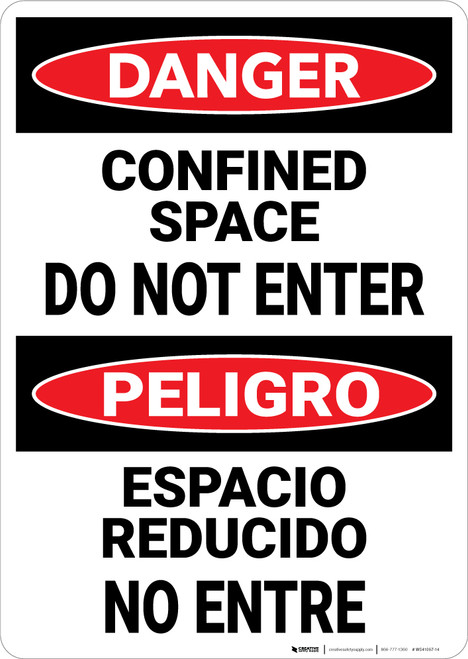 Danger: Confined Space Do Not Enter Bilingual Spanish - Wall Sign