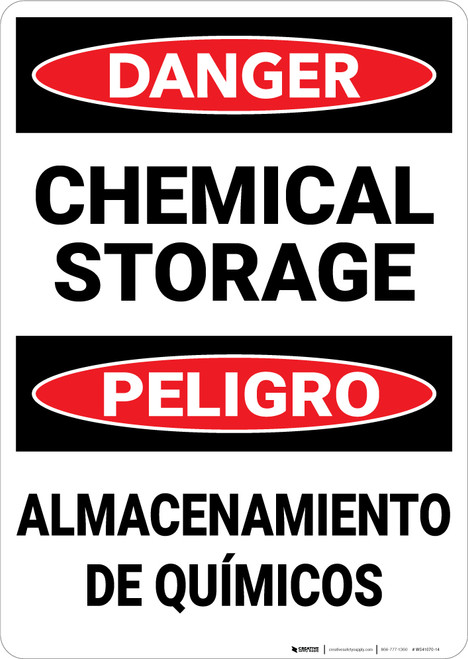 Danger: Chemical Storage Bilingual Spanish - Wall Sign