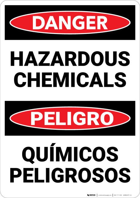Danger: Hazardous Chemicals Bilingual Spanish - Wall Sign
