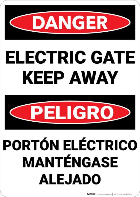 Danger: Electric Gate Keep Away Bilingual Spanish - Wall Sign