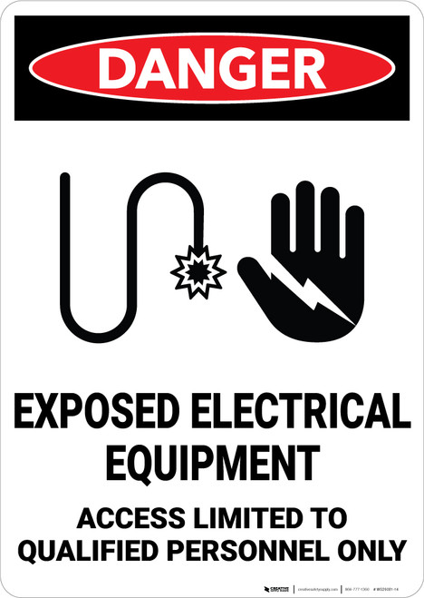 Danger: Exposed Electrical Equipment Access Qualified Personnel With Graphic - Wall Sign
