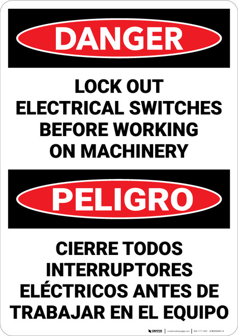 Danger: Lock Out Electrical Switches Bilingual Spanish - Wall Sign