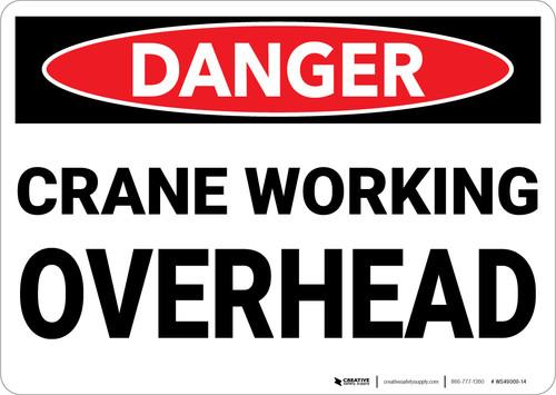 Danger: Crane Working Overhead - Wall Sign