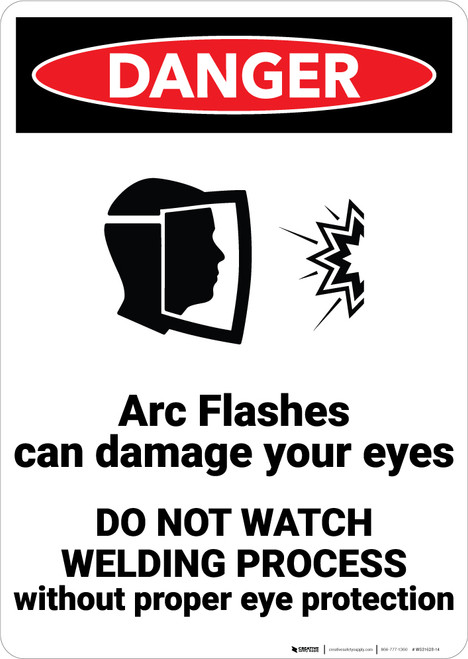 Danger: Arc Flashes Damages Eyes Wear PPE with Graphic - Wall Sign