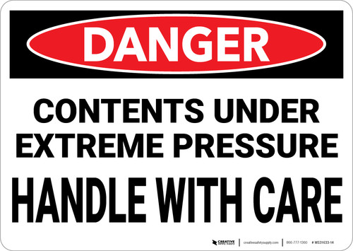 Danger: Contents Under Extreme Pressure Handle With Care - Wall Sign