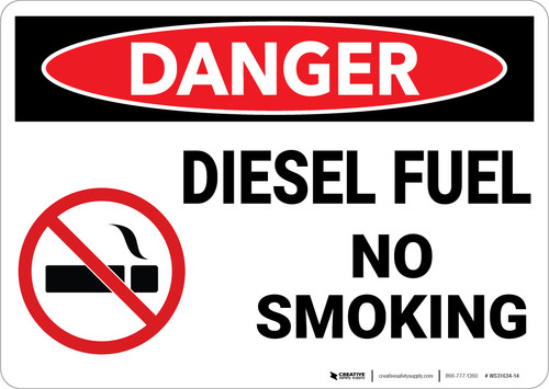 Danger: Diesel Fuel No Smoking - Wall Sign
