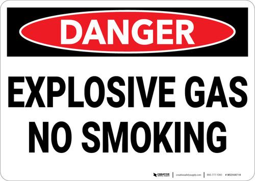 Danger: Explosive Gas No Smoking - Wall Sign