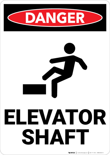 Danger: Elevator Shaft Warning - Wall Sign