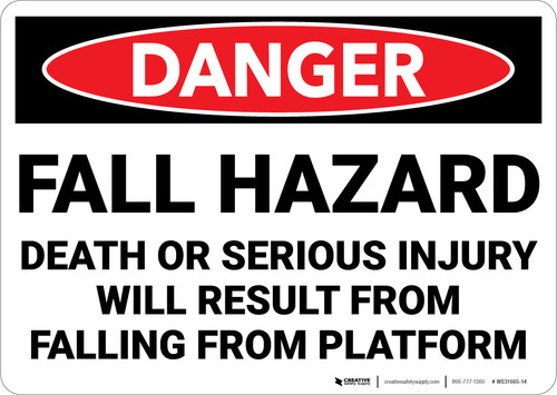 Danger: Fall Hazard Result In Death Injury - Wall Sign