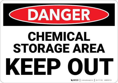 Danger: Chemical Storage Area Keep Out - Wall Sign